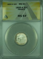1895-A 50C France ANACS  50 Centimes Silver Coin KM#834