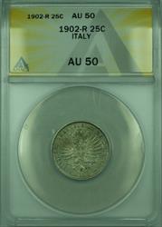 1902-R 25C Italy ANACS  25 Centesimi Coin KM#36