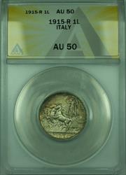 1915-R 1L Italy ANACS  1 Lira Silver Coin KM#32
