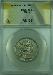 1923-R 1L Italy ANACS  1 Lira Coin KM#62