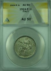 1924-R 1L Italy ANACS  1 Lira Coin KM#62