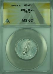 1950-R 2L Italy ANACS  2 Lire Coin KM#88