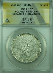 1939 10Z Poland ANACS  Detail Damaged Scratched 10 Ztotych Silver Coin Y#29