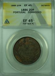1886 20R Portugal ANACS  Details Corroded 20 Reis Coin KM#527