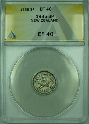 1935 3P New Zealand ANACS  3 Pence Silver Coin KM#1