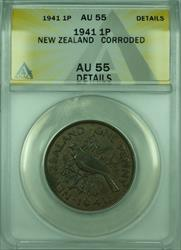 1941 1P New Zealand ANACS  Details Corroded 1 Penny Coin KM#13