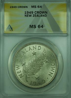 1949 New Zealand ANACS  Commemorative 1 Crown Silver Coin KM#22