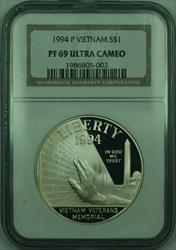 1994-P Proof Vietnam Memorial Commemorative Silver Dollar Coin NGC  CAM (A)