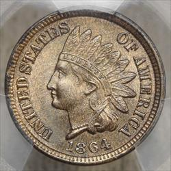 1864 Bronze Indian Cent, Snow-11, PCGS MS-65RB