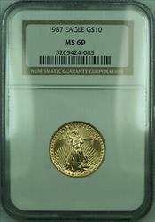 1987 $10 1/4 Oz American  Eagle AGE  NGC