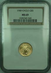 1989 $5 1/10th Oz American  Eagle AGE  NGC