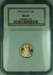 1990 $5 1/10th Oz American  Eagle AGE  NGC