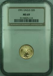 1991 $5 1/10th Oz American  Eagle AGE  NGC
