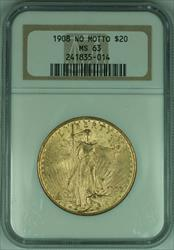 1908 Gaudens $20 Double Eagle   NGC NO MOTTO (C)