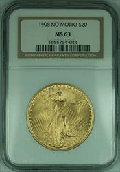 1908 Gaudens $20 Double Eagle   NGC NO MOTTO (D)