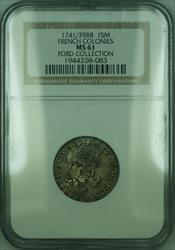 1741/39 BB French Colonies 1 Sou Marque Coin NGC  Ford Collection (GH)