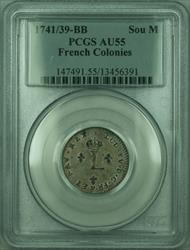 1741/39 BB French Colonies 1 Sou Marque Coin PCGS  (GH)
