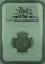 1741-O French Colonies 1 Sou Marque Coin NGC VF Details (GH)