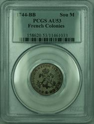 1744-BB French Colonies 1 Sou Marque Coin PCGS  (GH)