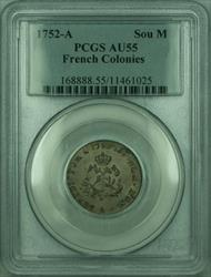 1752-A French Colonies 1 Sou Marque Coin PCGS  (GH)