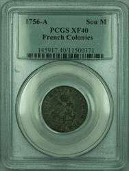 1756-A French Colonies 1 Sou Marque Coin PCGS  (GH)