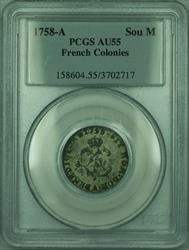 1758-A French Colonies 1 Sou Marque Coin PCGS  (GH)