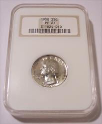 1950 Washington Quarter Proof PF67 NGC rv Color