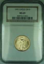 1991 $10 1/4 Oz American  Eagle AGE  NGC (KD)