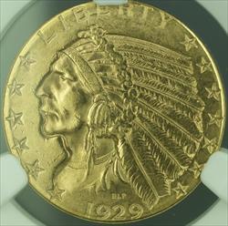 1929 Indian Half Eagle $5   NGC UNC Details BU (KD)