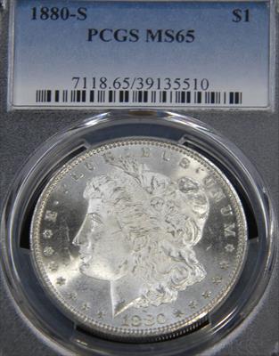1880-  MORGAN PCGS MS65 Blast White Semi Mirror/Cameo Beautiful Premium Quality Coin