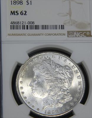 1898-P $1 MORGAN Silver Dollar NGC MS62 Blast White Frosty Luster, Premium Quality for the grade