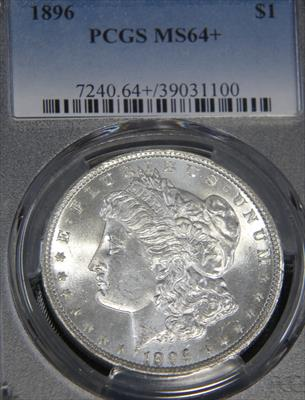 1896- $1 MORGAN PCGS MS64+ Blast White Superb Frosty Luster, Beautiful Premium Quality coin.