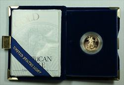 1997 W Proof 1/4 Oz American  Eagle $10  w/ Box & COA