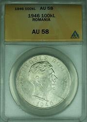 1946 Romania 100,000 Lei Silver Coin ANACS  looks choice