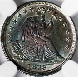 1838 Seated Half Dime, No Drapery, Large Stars -- NGC MS68