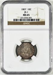 1807 Draped Bust Dime w/ Heraldic Eagle, Type 2, JR-1 -- NGC MS65