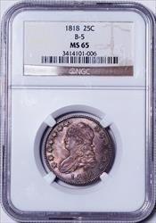 1818 Capped Bust Quarter, B-5 -- NGC MS65
