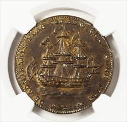 1779 Rhode Island Brass Token - Wreath Below Ship - NGC MS61