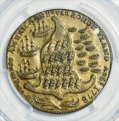 1779 Rhode Island Brass Token - Wreath Below Ship - PCGS MS62