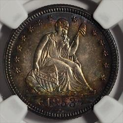 1853 Seated Quarter with Arrows and Rays -- NGC MS66+