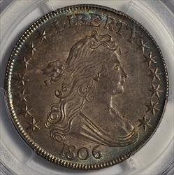 1806 Bust Half Dollar, Pointed 6 Stem -- PCGS MS63