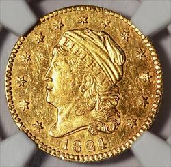 1824/1 $2.5 Capped Bust Left -- NGC MS61