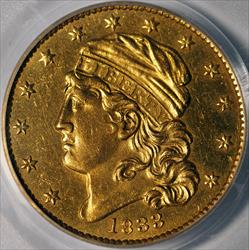 1833 $5 Capped Head To Left, Large Date -- PCGS MS61
