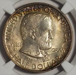 1922 50c Grant With Star -- NGC MS67