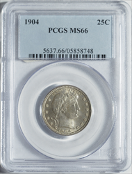 1904 Barber Quarter -- PCGS MS66