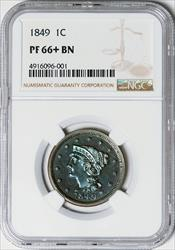 1849 Coronet Large Cent -- PF66+ BN