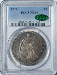 1872 Seated Liberty Dollar -- PCGS PR64 CAC