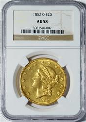 1852-O $20 LIberty -- NGC AU58