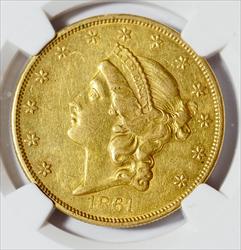 1861-O $20 LIberty -- NGC AU53