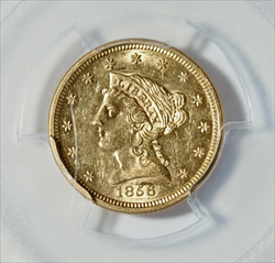 1856-S $2.5 Liberty SS Central America & Pinch of Gold Dust -- PCGS AU58